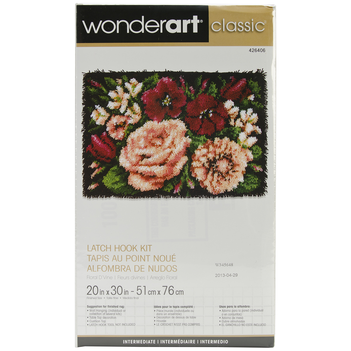 "Wonder Art Classic Latch Hook Kit, Floral D'vine, 20"" x 30"""
