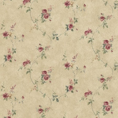 Manhattan Comfort Tacoma 32.7 Ft. x 20.5 In. Vinyl Brown Rose Floral Trail Wallpaper Wallpaper Covering