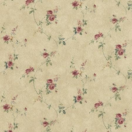 Manhattan Comfort Tacoma 32.7 Ft. x 20.5 In. Vinyl Brown Rose Floral Trail Wallpaper Wallpaper (Victorian Rose Wallpaper)