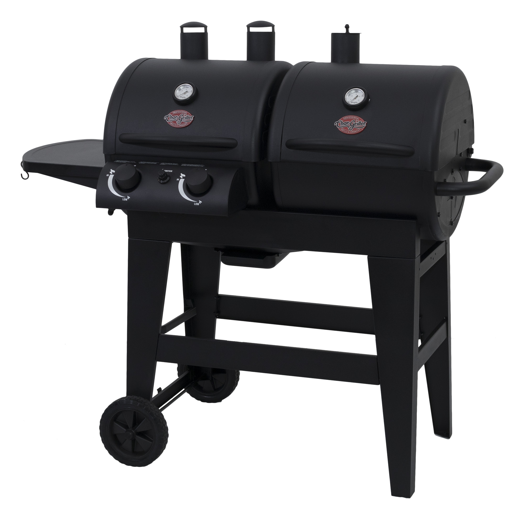 Char-Griller Dual 2 Burner Charcoal & Gas Grill, Black, E5030