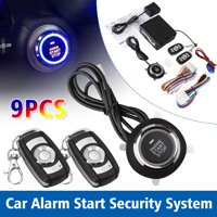 TSV Car Security Alarm System with Passive Keyless Entry Remote Engine Start Push Button Star