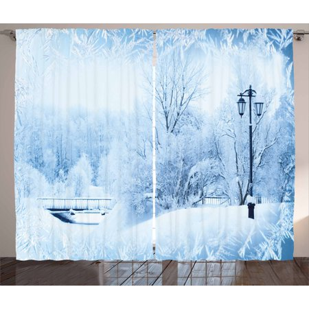 Winter Curtains 2 Panels Set, Winter Trees in Wonderland Theme Christmas New Year Scenery Freezing Icy Weather, Window Drapes for Living Room Bedroom, 108W X 84L Inches, Blue White, by - Theme Winter Wonderland