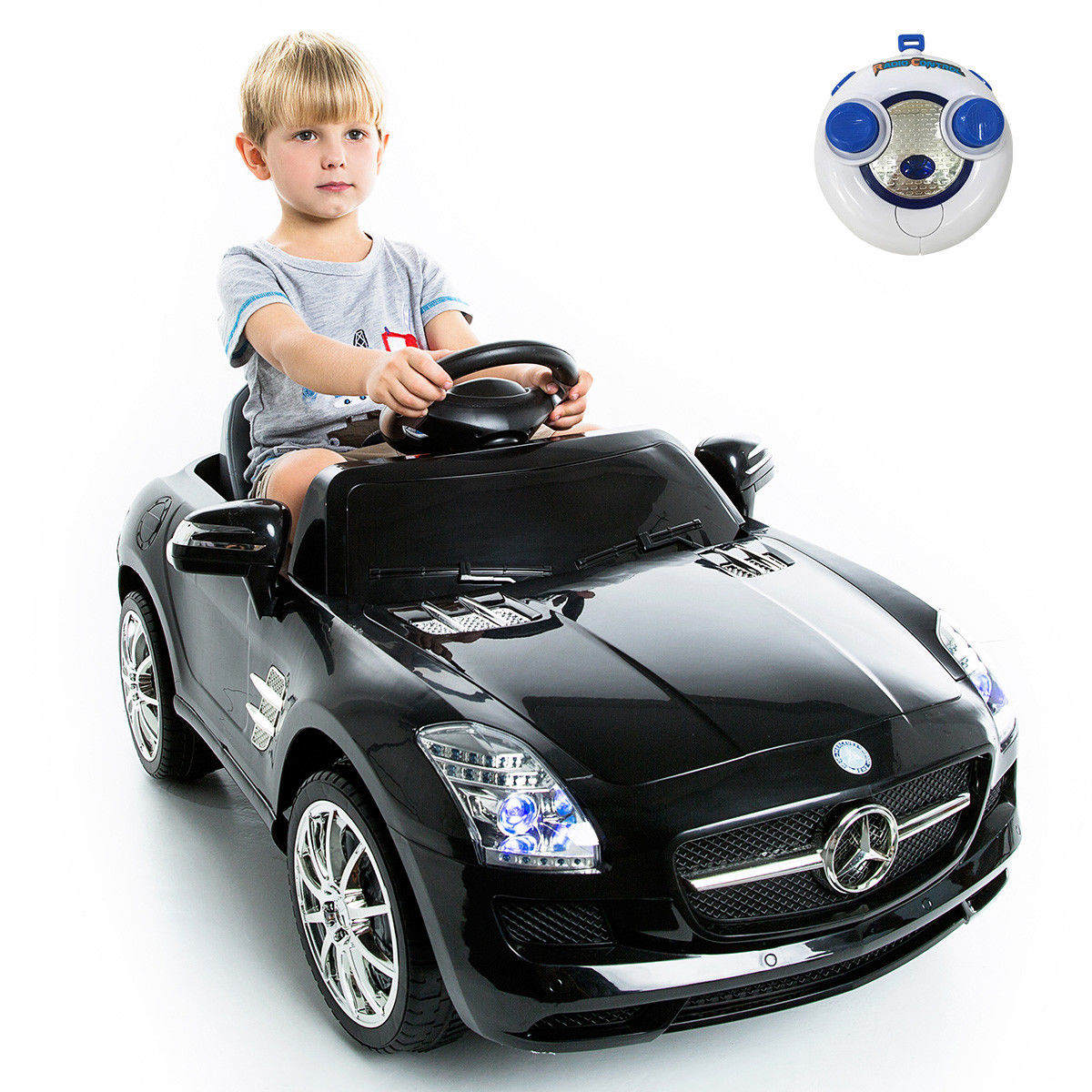 Goplus mercedes benz sls r/c mp3 kids ride on car electric battery toy Black