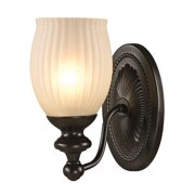 Park Ridge 1-Light Vanity Lamp in Oil Rubbed Bronze with Reeded Glass