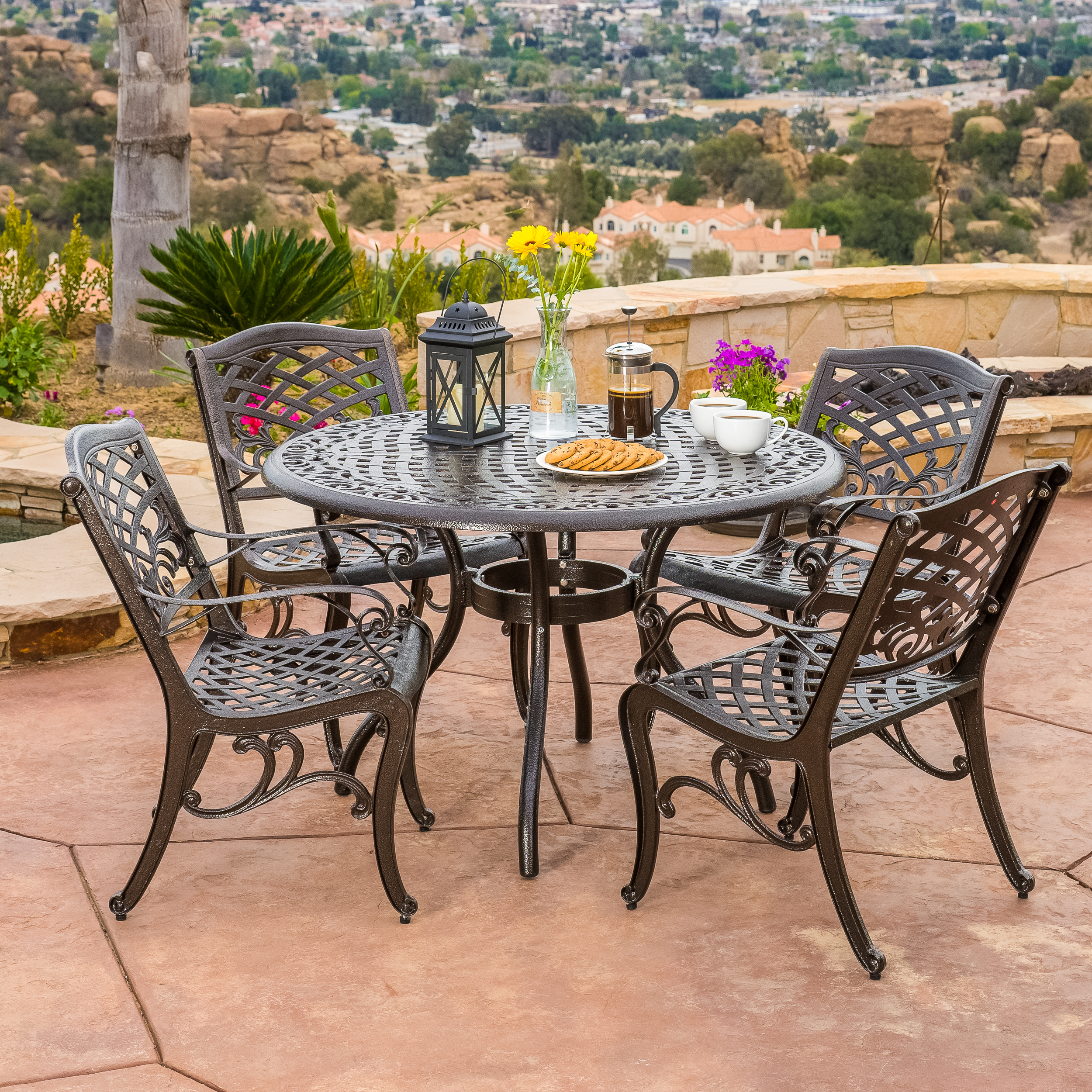 Superior Outdoor 5 Piece Cast Aluminum Outdoor Dining Set, Bronze