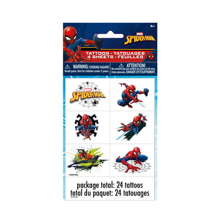 Spiderman Temporary Tattoos, 24ct (Hockey Tattoos)