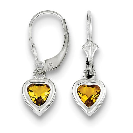 Ladies 925 Silver 6mm Bezel Heart Citrine Leverback Earrings 7mm x