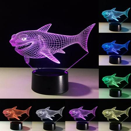 Moaere 3D Lamp Shark Led Illusion Light 3D Night Light USB Acrylic Colorful LED Table Desk Decoration Gift Toy - Light Up Table Decorations