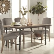 Chelsea Lane Weathered Scraped Dining Table with Metal Base, Brown and Ash