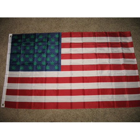 3x5 Marijuana Green Stars Weed USA Pot Flag 3'x5' Banner Brass Grommets, 3x5 polyester flag By Ant - Weed Star