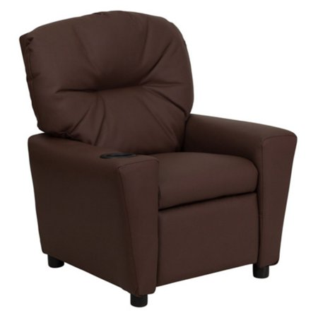 Flash Furniture Leather Kids Recliner with Cup Holder - Brown