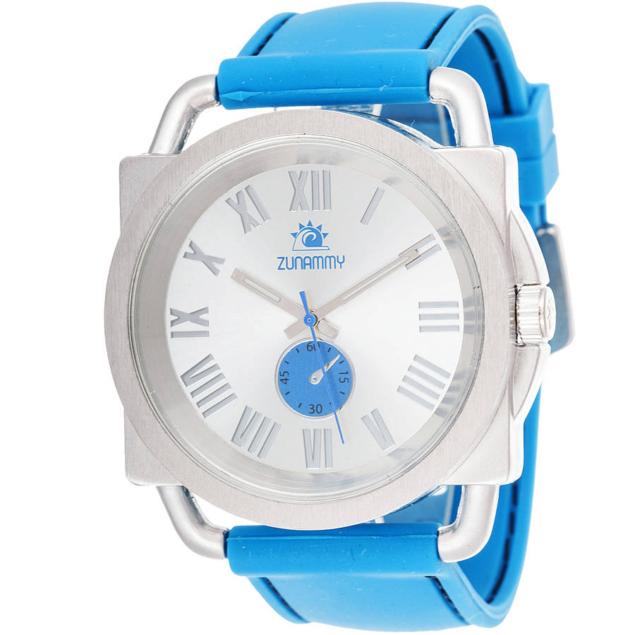 Zunammy Fashion Watch, Blue Rubber Strap