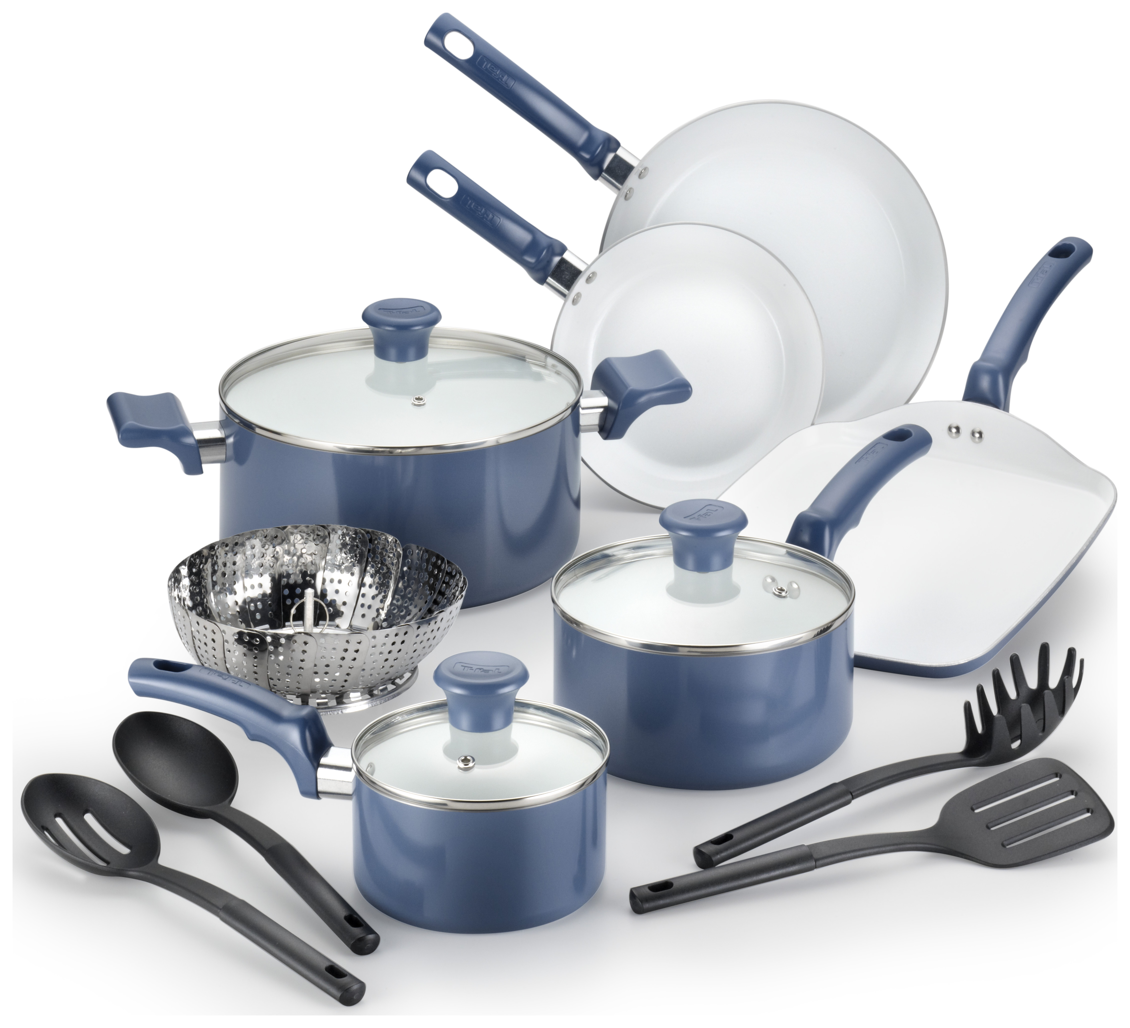 T-fal, Celebrate Ceramic, C521SE, PTFE-free, PFOA-free, Dishwasher Safe Cookware, 14 Pc. Set, Blue