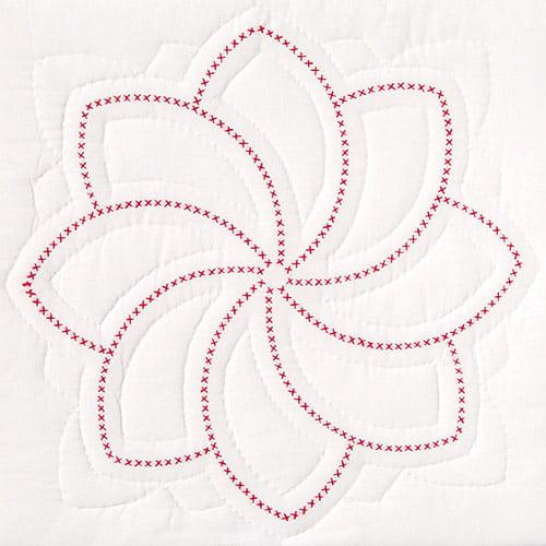 """Stamped White Quilt Blocks, 18"""" x 18"""", 6pk, XX Pinwheel"""