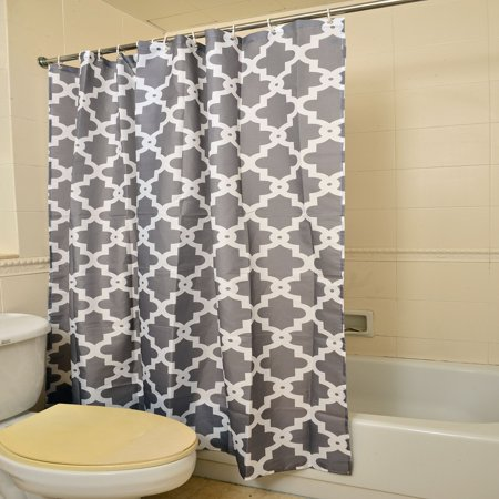 Gray 100% Polyester Waterproof Geometric Patterned Shower Curtain for Bathrooms Set (Grey Shower Curtain Long)