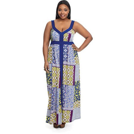 76ebe7b85ee0 ONLINE - Miss Tina Women s Plus-Size Colorblock Maxi Dress - Walmart.com