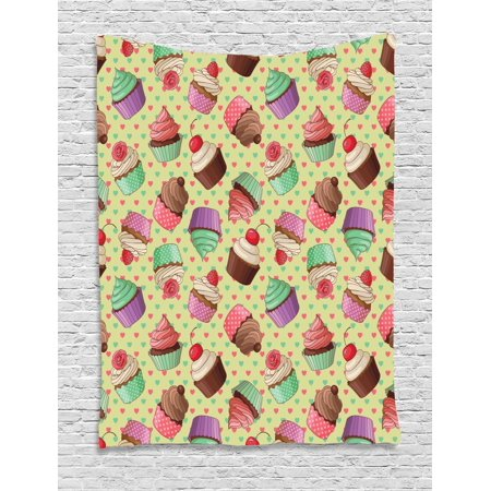 kitchen decor tapestry, coffee shop bakery inspired cupcake pattern