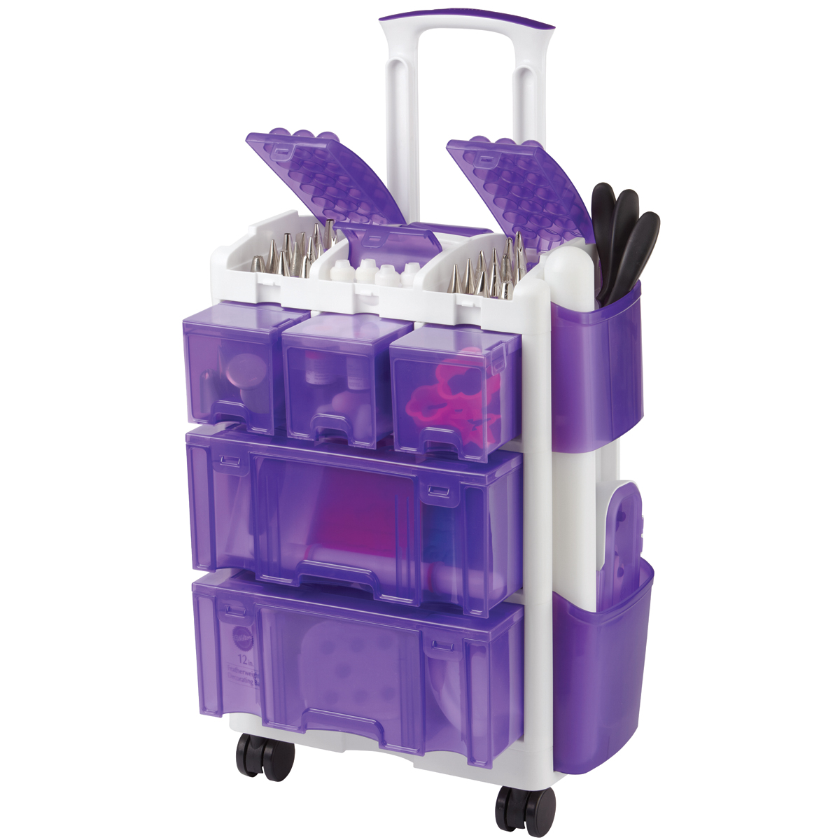 "Wilton 10""x14.2""x22.5"" Ultimate Rolling Tool Caddy, White & Purple 409-3078"