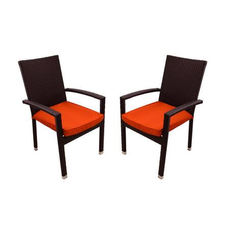Set Of 2 Black Resin Wicker Outdoor Patio Furniture Dining Chairs Orange Cu