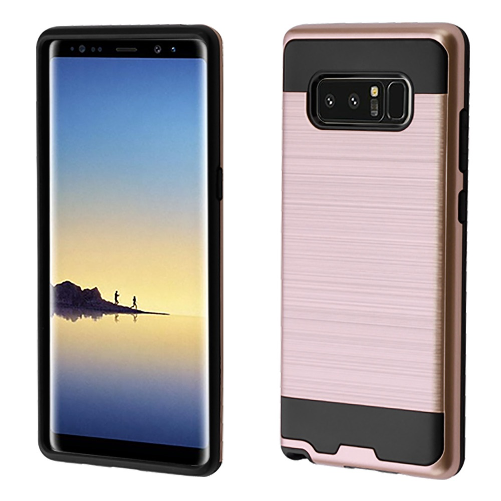 Kaleidio Case For Samsung Galaxy Note 8 [Brushed Metal Texture] Slim Fit Hybrid Armor [Shockproof] Protective TPU Lightweight 2-Piece Cover w/ Overbrawn Prying Tool [Rose Gold/Black]