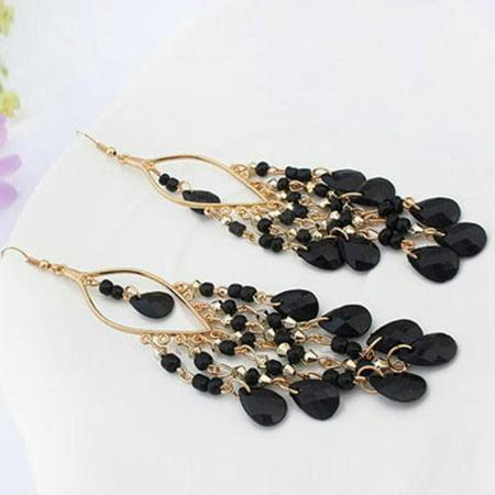 Bohemian Colorful Beads Eardrop Dangle Tassel Earrings (Colorful Earrings)