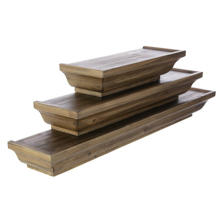 Kieragrace Muskoka Fitz Wood Shelves Walnut 12 Inch 18 24 Set Of 3