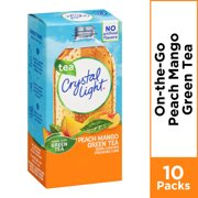 (60 Packets) Crystal Light On the Go Sugar Free Powdered Peach Mango Green Tea, 0.08 oz