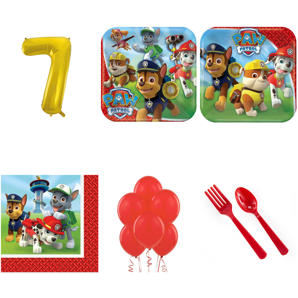 PAW PATROL PARTY SUPPLIES PARTY PACK FOR 32 WITH GOLD #7 BALLOON