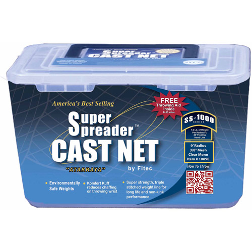 """FITEC SS1000 Super Spreader Cast Net, 5' x 3/8"""" Mesh, Clear, 1 Lb wts"""