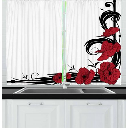 Art Nouveau Curtains 2 Panels Set, Poppy Bouquet Branches Romantic Pastoral Idyllic Meadow Blossom Vintage, Window Drapes for Living Room Bedroom, 55W X 39L Inches, Black Ruby White, by Ambesonne