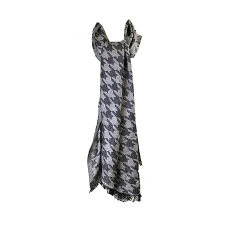 Style & Co. Black White Metallic Houndstooth Jacquard Evening Wrap OS