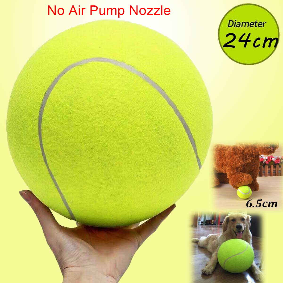 Diameter 9.5 inch Rubber Kelly Tennis Ball Giant Pet Toy Dog Puppy Fun Thrower Chucker Launcher Play Training Large Ball