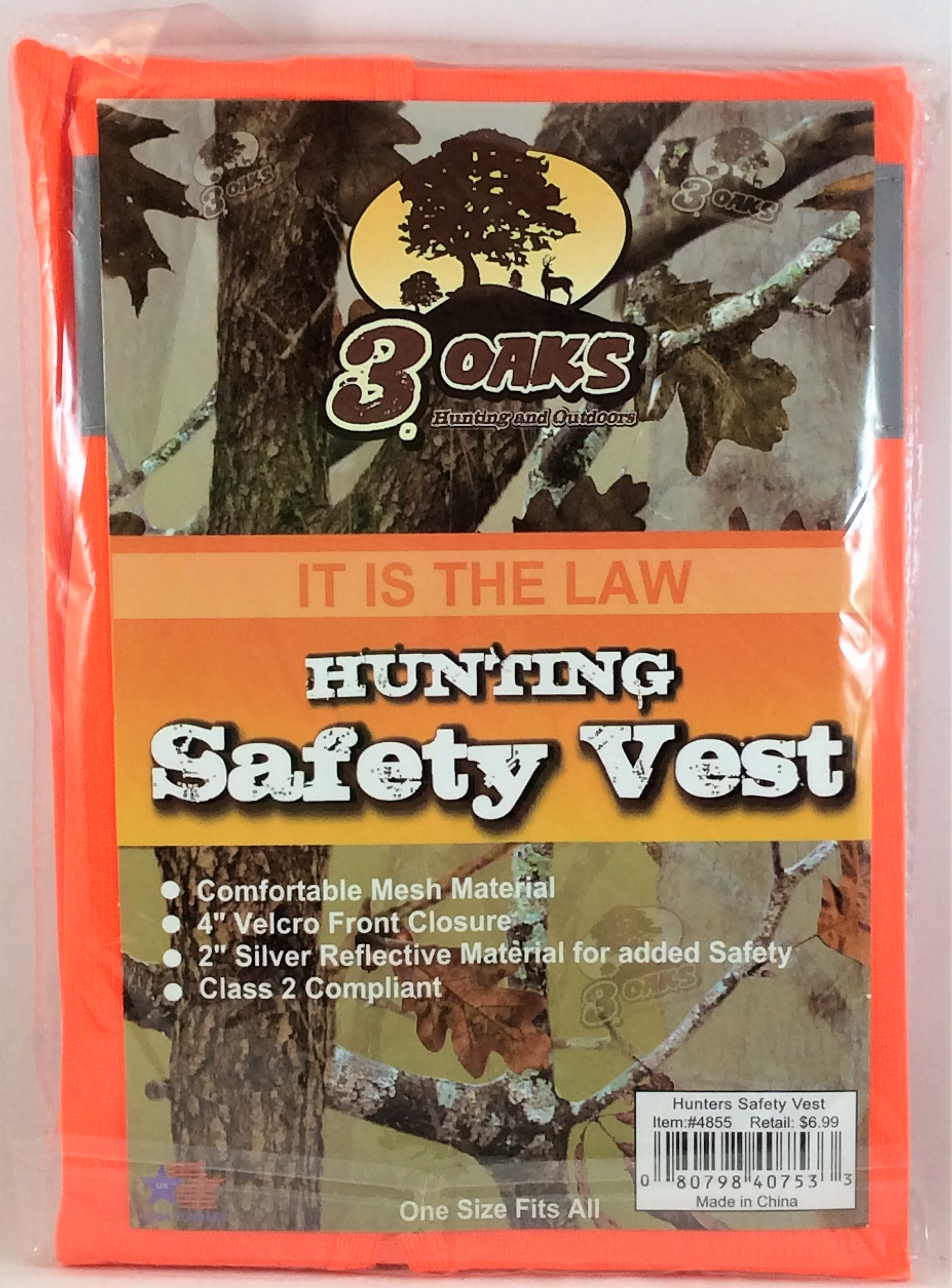 Click here to buy 3 Oaks Hunting and Outdoors Orange Safety Vest One Size Fits All.