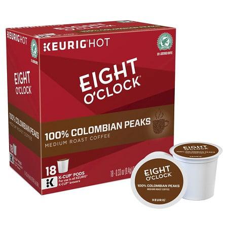 Eight O'Clock Coffee Colombian Peaks Keurig Single-Serve K-Cup Pods, Medium Roast Coffee, 18 Count