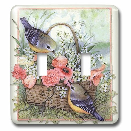 3dRose Pretty sparrows in a beautiful basket of roses , Double Toggle Switch
