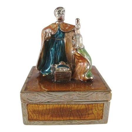Bible Story Jesus Born Nativity Scene Pewter Jewelry Hinged Box
