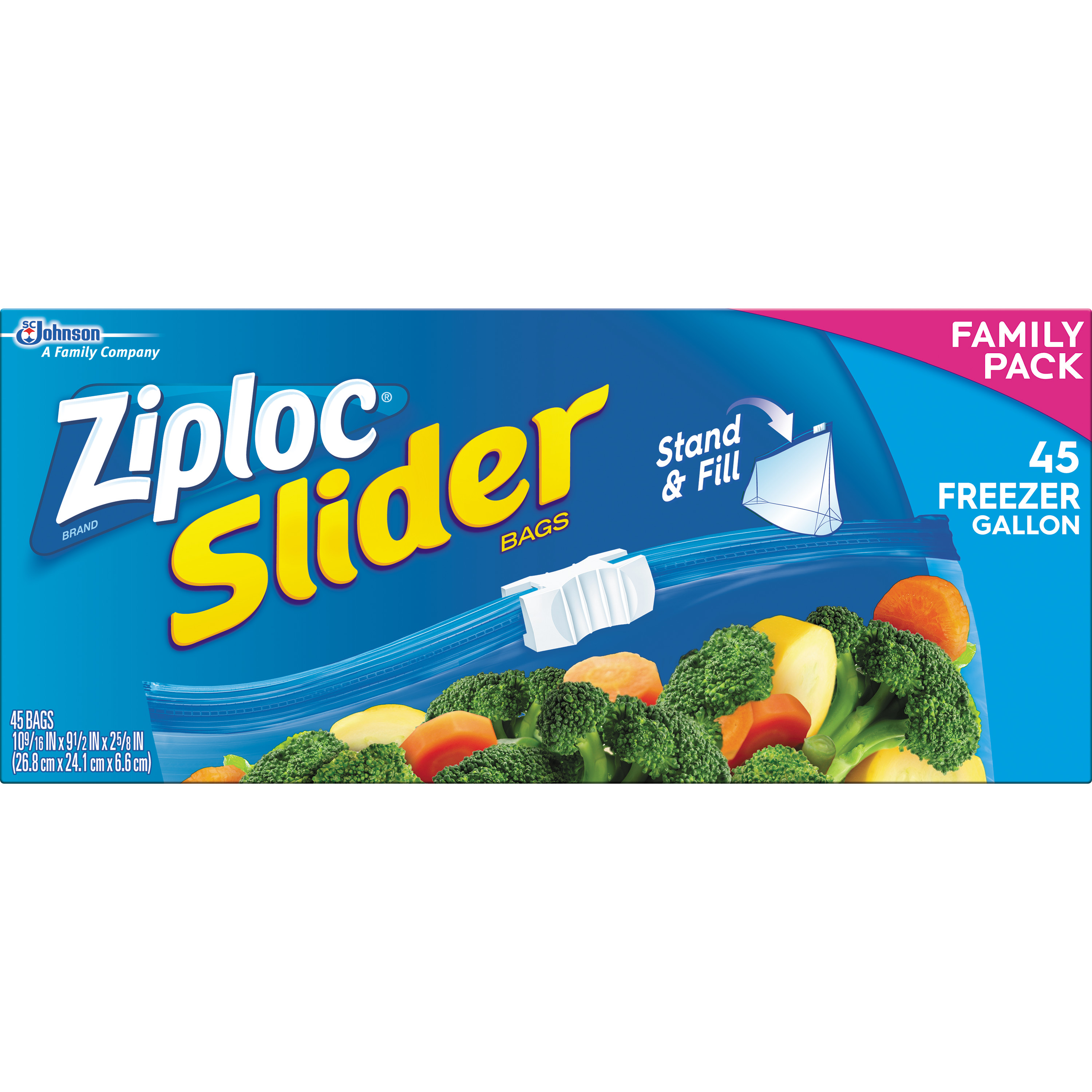 Ziploc Slider Freezer Gallon Family Pack 45 Count