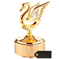Matashi 24K Gold Plated Music Box with Crystal Studded Swan Figurine, Swan Lake
