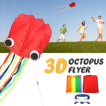 3 D Octopus Kite 4m single Line Stunt Kite Long Tail Outdoor Sport Family Kids (Best Beginner Stunt Kite)