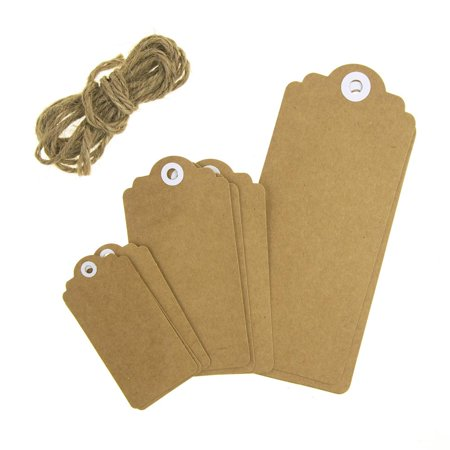 Mirror Hang Tags - Kraft Paper Hang Tags with Twine, Natural, 9-Piece