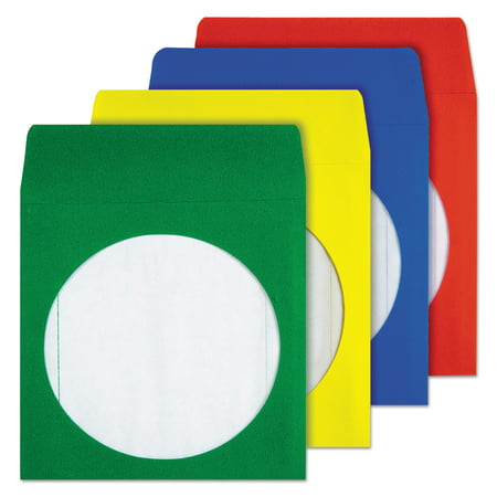 Quality Park Colored CD/DVD Paper Sleeves, Assorted Colors, 50/Box