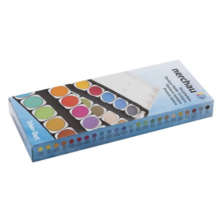 LUKAS Aquarell Studio Watercolor Paint Set Nerchau Professional High Quality High Pigment Lightfast German Studio Concentrated Watercolor Paint Set – [Opaque Set of 24 Assorted Round Pans]