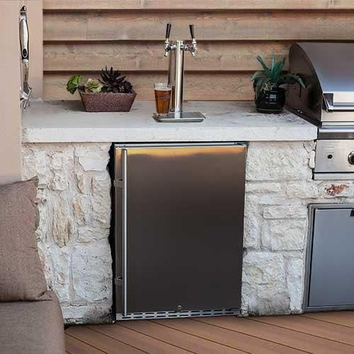 """EdgeStar KC7000ODTWIN 24"""" Wide Outdoor Double Tap Kegerator for Full Size Kegs with Electronic Control Panel"""