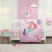 Disney The Little Mermaid Pink, Aqua, and Coral Ariel Cute by Nature 3 Piece Nursery Crib Bedding Set - Comforter, Crib Sheet, Dust Ruffle