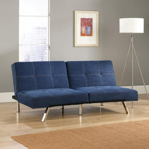 Sauder Studio Edge Cooper Convertible Sofa Futon, Denim Blue