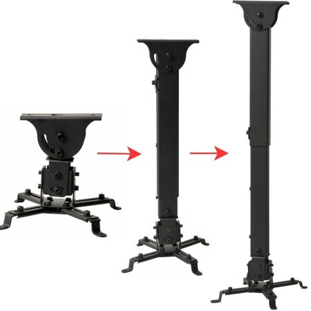 VideoSecu Tilt Ceiling Projector Mount Height Extendable Universal LCD DLP Swivel Rotate Bracket Black Loading 44lbs B13