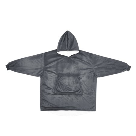 Wearable Oversized Cuddle Throw with Sherpa Lining and Hood, Gray