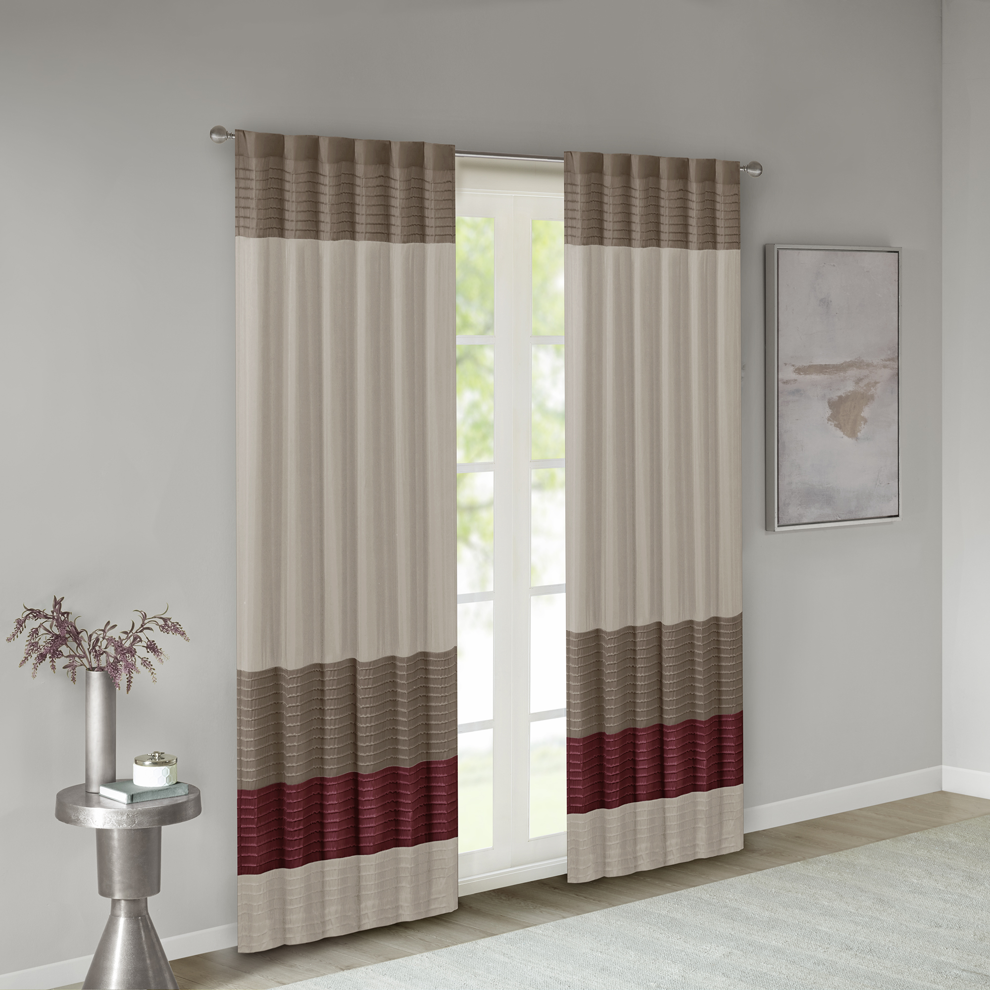 Home Essence Salem Polyoni Pintuck Lined Window Panel