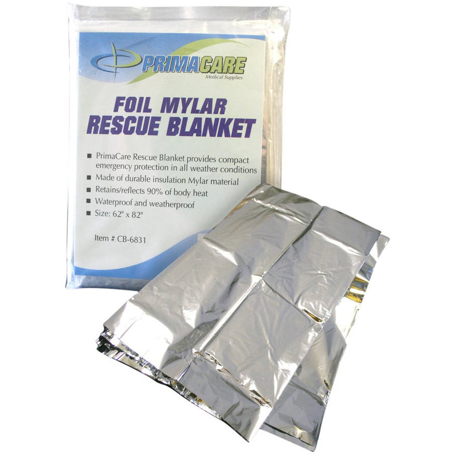 "Primacare DC-6852 Emergency Foil Mylar Thermal Blanket, 84"" x 52"", 10pk"