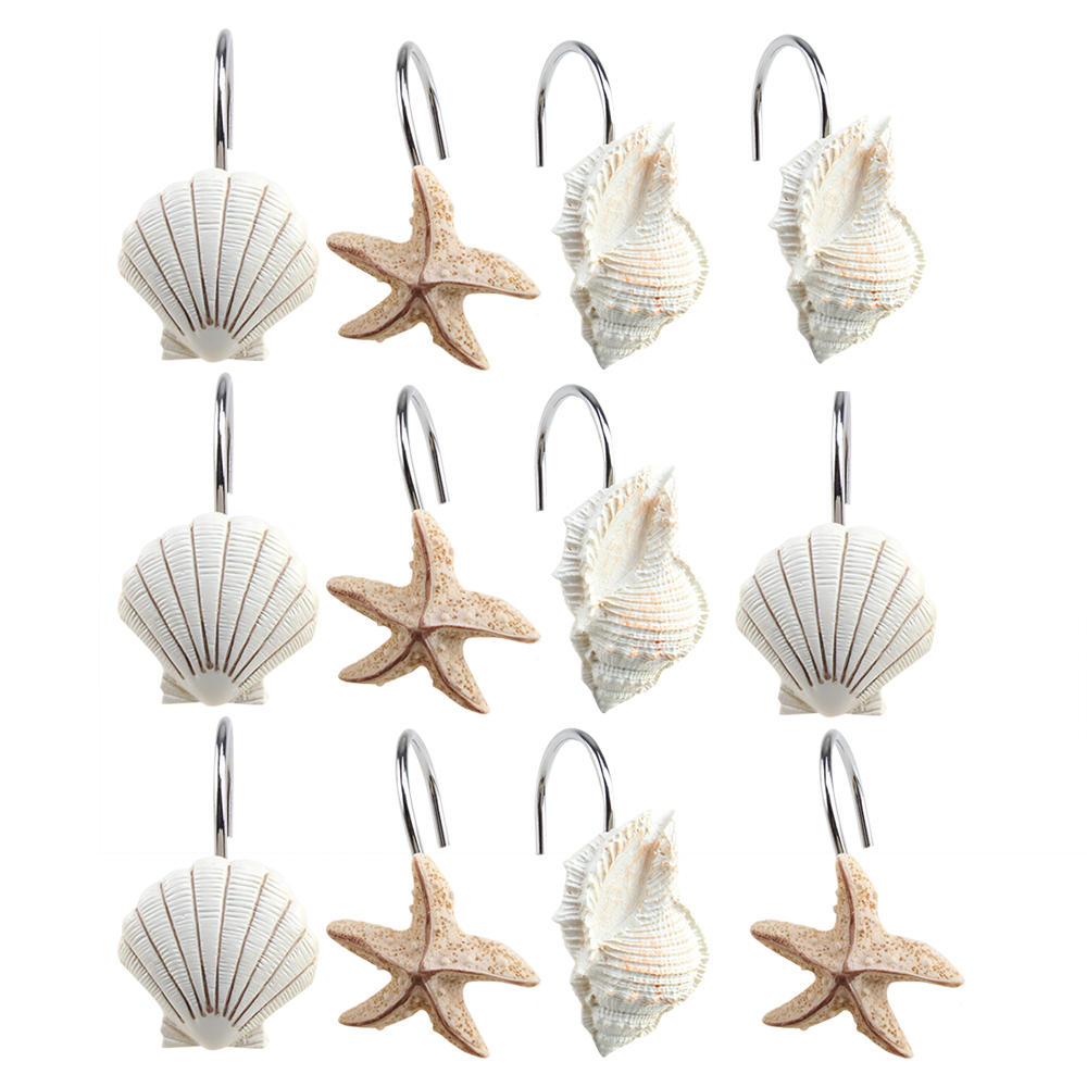 Image Shower Curtain Hooks Rings Set of 12 Home Decorative Seashell Shell Hooks